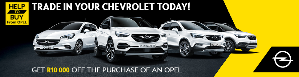 Trade in your Chevrolet Today! Get R10 000 Off the Purchase of a Opel.